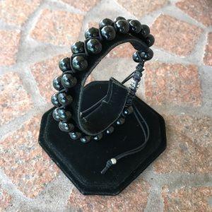 Men or women Double row macrame onyx bracelet